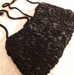 Valerie Stevens Black Beaded Evening Bag